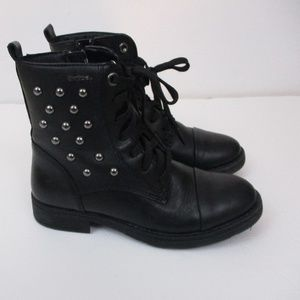 Geox  Black Leather Sudded Laced Combat boots